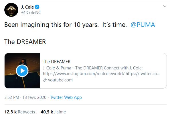 J.Cole annonce un partenariat avec Puma !