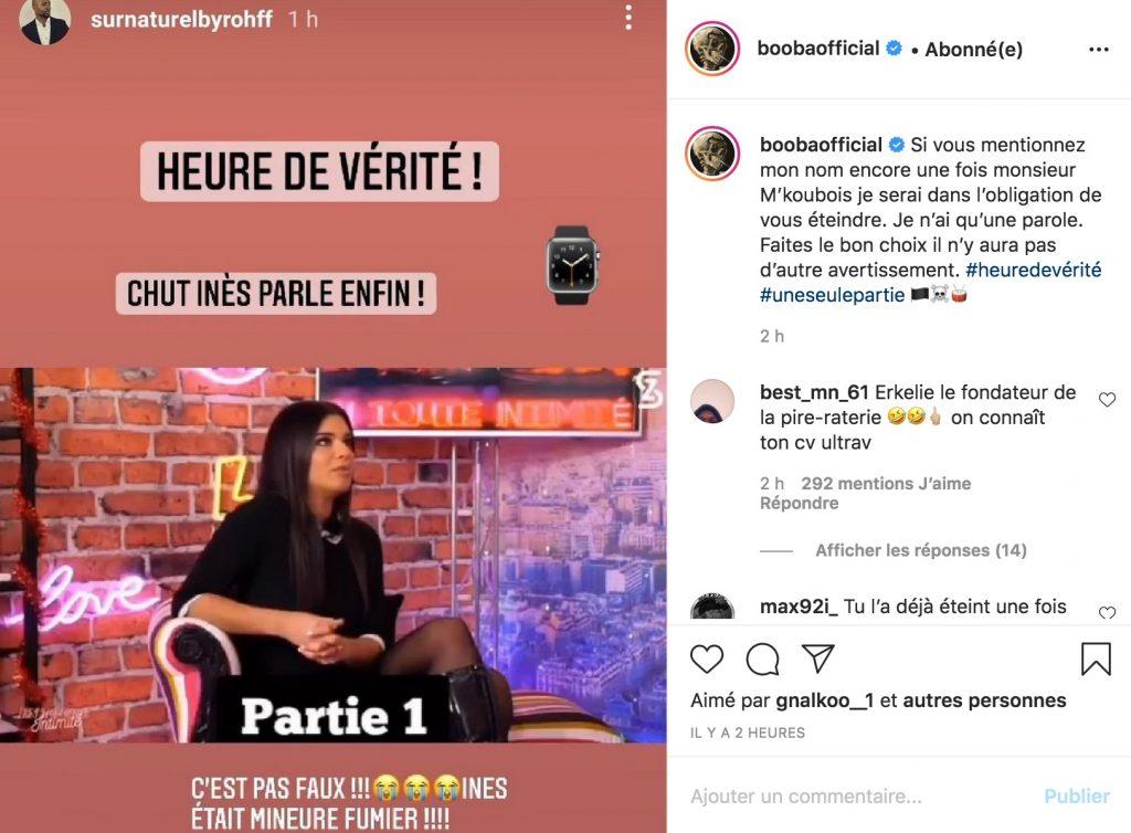Booba définitivement banni d'Instagram après une suite de dérapages