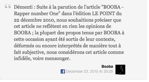 Booba - Démenti suite à larticle du point