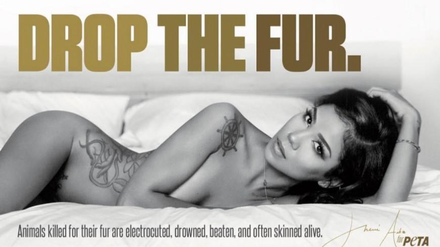 Nue, Jhené Aiko proteste contre la fourrure !
